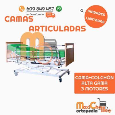 cama articulada completamente nueva, con colchón y tres motores en venta en Gran Canaria a precio de ocasión. Envío e instalación GRATIS